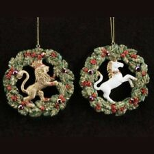 Regency Regal Wreath Jewelled Lion Unicorn Christmas Traditional Tree Decoration