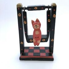 Balinese Folk Art Cat on Swing Carved Wood Indonesia Handmade Hand Painted