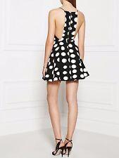 Keepsake Restless Heart Black White Polka Dot Fit Flare Mini Skater Dress L 12