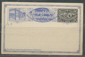 Guatemala 3C Upu 1897 Exhibition come Nuovo Postale Cartoleria Cartolina 2 Diff
