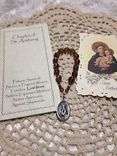St. Anthony HAND-MADE CHAPLET, Czech Brown Glass *NEW* Prayer book, FREE SHPG