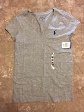 NEW Polo Ralph Lauren Sport Women's Lightweight Jersey V-Neck T-Shirt Gray sz XS