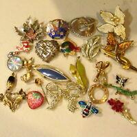 Vintage Brooch LOT 25 Pc Rhinestone Enamel Stone Gold Silver Flowers Mixed #6