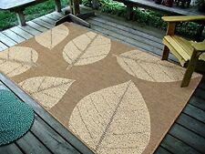 "4'5"" x 7' Big Floral Leaves, Natural Beige Indoor & Outdoor Area Rug - 0583"