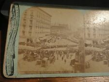 "1800's BIERSTADT Stereoview - ""Looking Up 5th Avenue From 23rd Street"" w/People"