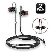 2-PACK Premium Earphones/Earbuds/Headphones with Mic & Remote / Volume Control