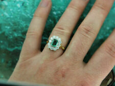 2.00 Ct Emerald & Diamond Cluster Halo Engagement Ring 14K Yellow Gold Finish