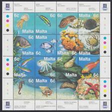 Malta - Michel-Nr. 1077-1092 als ZD-Bogen postfrisch/** (Fische / Sea Life)