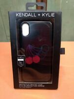 Kendall + Kylie iPhone X Protective Printed Case, Black w/ Cherries