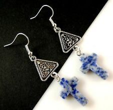 1 Pair of Natural Blue Sodalite Gemstone Cross Dangle Earrings #1818
