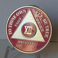 Pink & Silver Plated 12 Year AA Chip Alcoholics Anonymous Medallion Coin