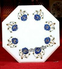12 Inches Side Table Top Inlay with Lapis Lazuli Stone Art Coffee Table for Home
