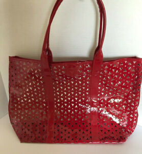 Large Red Tote Bag With White Interior 12 H 17.5 W New Without Tag
