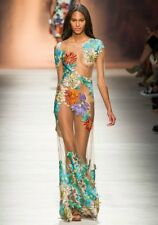 BLUMARINE Floral Embroidered Sheer Tulle Jeweled Dress Gown 42 4 6
