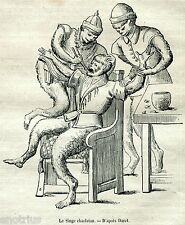 Dentista: La Scimmia Ciarlatana.Dentist.Zahnarzt.Stampa Antica.Passepartout.1881