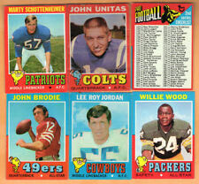 1971 Topps Football - Lot of 6 Cards - Unitas, Brodie, Checklist +++