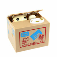 Yellow Cat Shape Stealing Coin Electric Piggy Bank Saving Money Box Kid Toy Gift