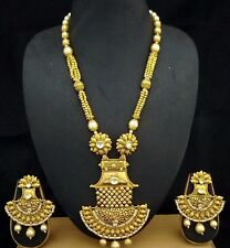 1gm Gold Plated White CZ Kundan Temple Necklace Earrings Jewelry 3pc Hot Set