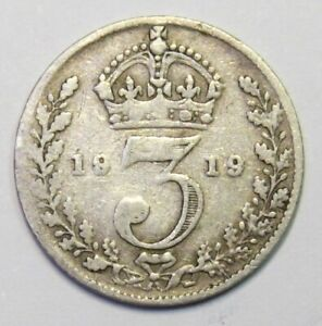 1919 Threepence - 3d - Silver (.925) - George V - Great Britain (KA211)