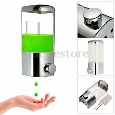 US 500ml Chrome Shower Shampoo Liquid Soap Lotion Dispenser Bathroom Wall Mount