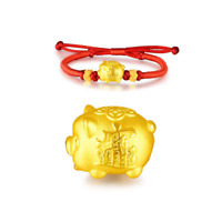 New Fine 999 24k Yellow Gold 3D Lucky Pig With Red Cord Weave Bracelet 6.3inches
