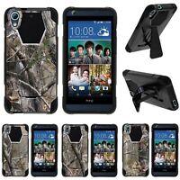 For HTC Desire 626 & 626s|  Dual Bumper Case Kickstand Tree Bark Hunter Camo