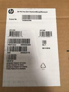 New HP PS/2 Business Slim Keyboard Mouse Mousepad T4E66AA#ABA