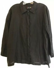 Jams World LARGE Black Linen Shirt Button Down Top Lg 3/4 Lagenlook Hawaii USA