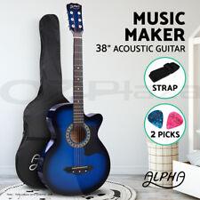 """Alpha 38"""" Inch Acoustic Guitar Wooden Folk Classical Cutaway Steel String Blue"""