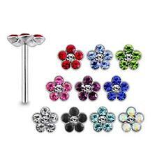 10 Pcs 22G 9mm 925 Sterling Silver 2mm Join Stones in 5mm Flower Nose Straight S