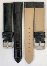 Genuine Leather Watch Band w/ Buckle * Brown/Black/White 18 mm Crocodile w/Pins