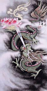 100% HANDPAINTED ORIENTAL FINE ART CHINESE WATERCOLOR PAINTING-Dragon King&Lotus