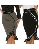 RK26 High Waist Wiggle Pencil Skirt Ruffles Rockabilly Work Pin Up Retro 40s 50s