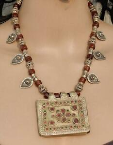 Old Boho Handmade Afghan Banjara Glass Bead Pendant Tribal Gypsy Necklace