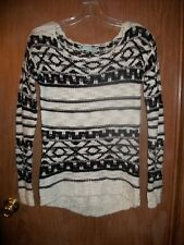 NWT MAURICE'S BLACK, CREAM, SILVER SCOOP NECK SWEATER SZ MEDIUM Ret. $44.00