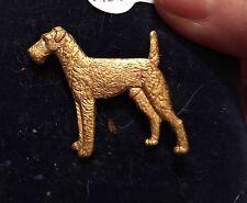 Vintage Kenart Gilt Old Gold 1960s Welsh, Irish, Airedale Terrier Dog brooch