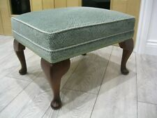 Vintage Foot Stool/Pouffe c/w Queen Anne Legs Original Green Patterned Top - VGC