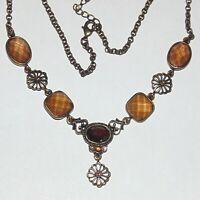 Signed lia sophia beautiful windowpane faceted rhinestone bronze tone necklace