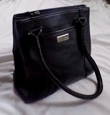 OSPREY London classic leather tote handbag in black pebbled leather