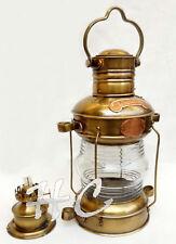 Vintage Brass Antique Ship Lamp ~ Nautical Anchor Lantern Oil Burner Boat Light