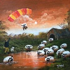 MAL.BURTON ORIGINAL OIL PAINTING  CRAZY SHEEP NORTHERN ART DIRECT FROM ARTIST