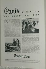 1932 French Line ad, Paris is Gay & Grapes are Ripe