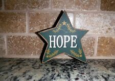 """4"""" Hope Wood Star Shelve Sitter Standing Primitive country Rustic Green sign"""