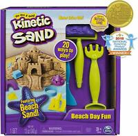 Kinetic Sand 12 oz Playset Beach Day Fun Castle Molds Raking Tools Storage Box