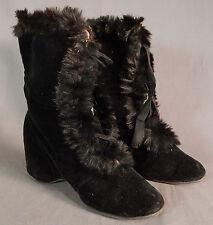 Victorian Vintage Black Velvet Fur Trim Womens Winter Carriage Snow Boots Shoes