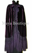 Cloak Opera Cape Purple Victorian Rep Long Velvet Lace & Mink Trim Maya Matazaro