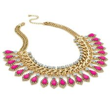 Pink Droplet Gold Chain Statement Necklace