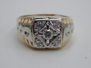 Unique Men's 14k Gold .49 tcw Round Diamond Ring G/SI Vintage Estate Retro