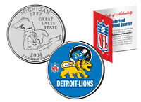 DETROIT LIONS Retro Logo Michigan Quarter Colorized Coin Football NFL LICENSED
