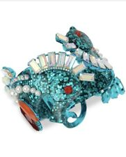 $125 Betsey Johnson blue tone crystal glitter seahorse bangle bracelet Ma6